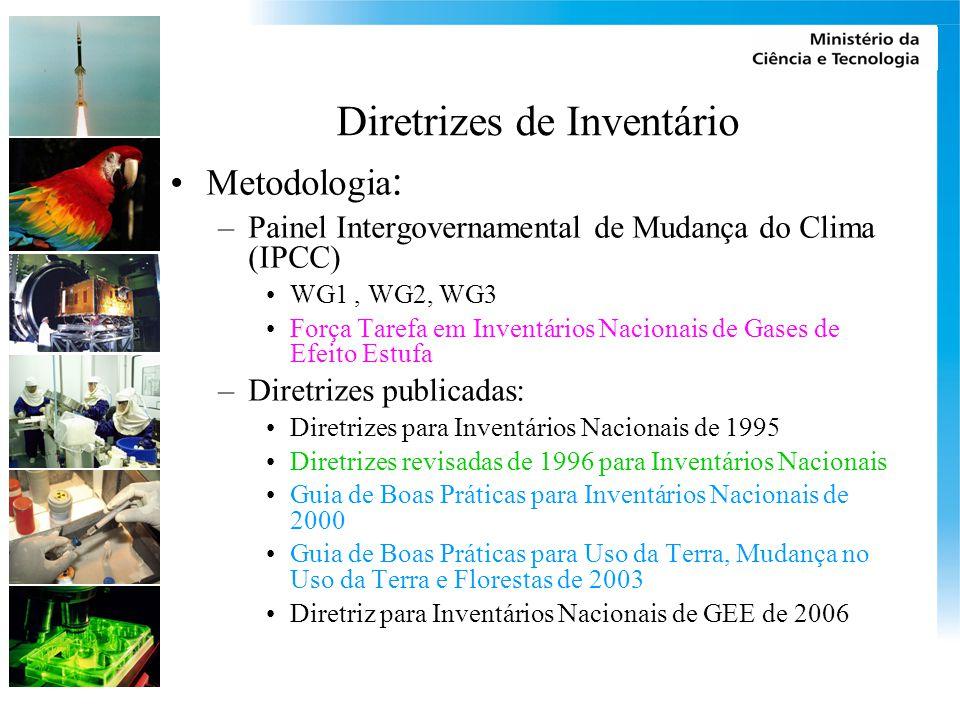 Diretrizes de Inventário Metodologia : –Painel Intergovernamental de Mudança do Clima (IPCC) WG1, WG2, WG3 Força Tarefa em Inventários Nacionais de Gases de Efeito Estufa –Diretrizes publicadas: Diretrizes para Inventários Nacionais de 1995 Diretrizes revisadas de 1996 para Inventários Nacionais Guia de Boas Práticas para Inventários Nacionais de 2000 Guia de Boas Práticas para Uso da Terra, Mudança no Uso da Terra e Florestas de 2003 Diretriz para Inventários Nacionais de GEE de 2006