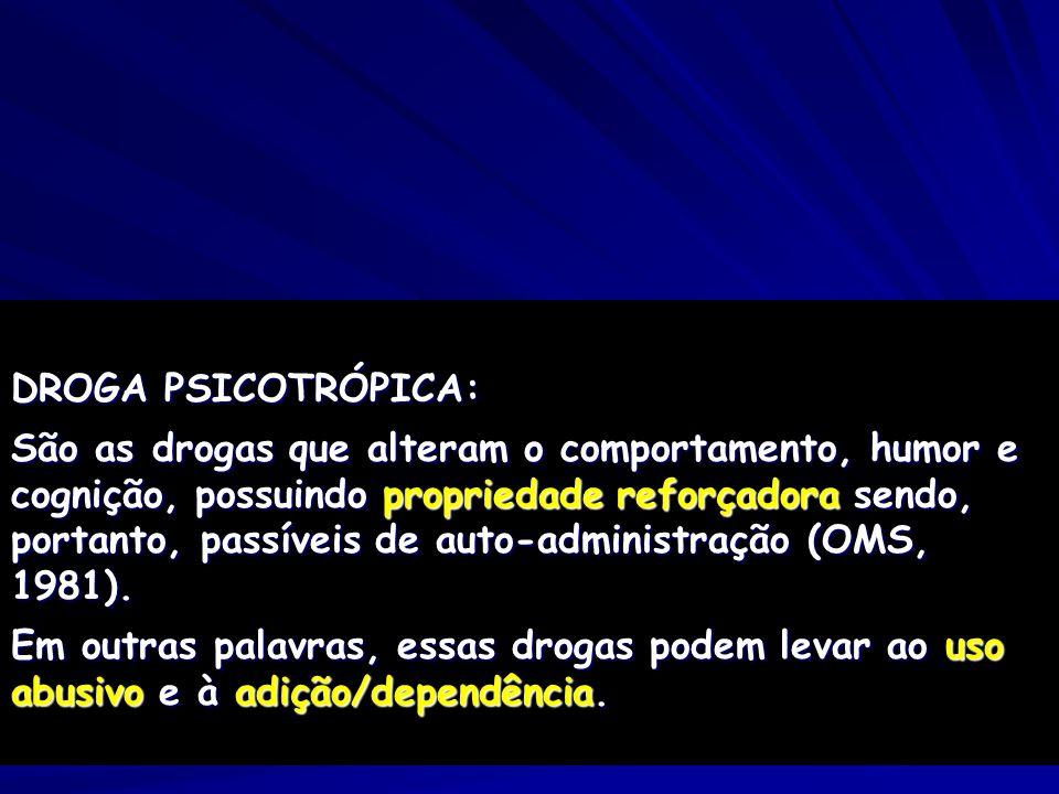 DROGA PSICOTRÓPICA: São as drogas que alteram o comportamento, humor e cognição, possuindo propriedade reforçadora sendo, portanto, passíveis de auto-