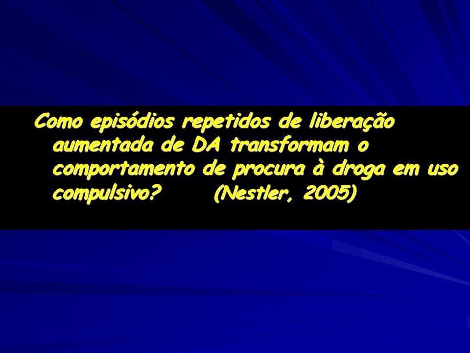 Como episódios repetidos de liberação aumentada de DA transformam o comportamento de procura à droga em uso compulsivo? (Nestler, 2005)