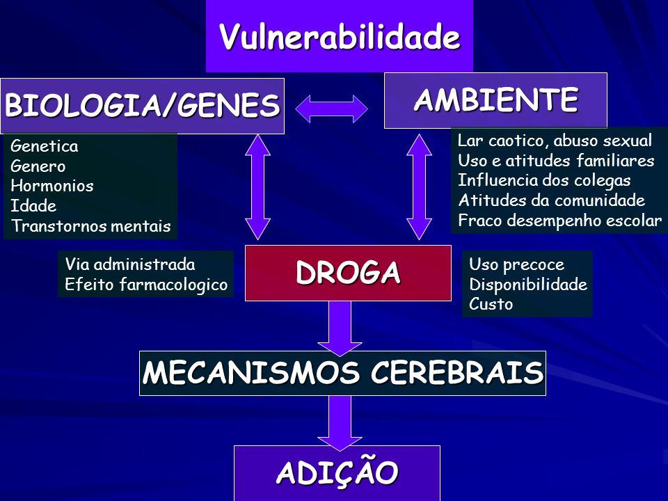 VulnerabilidadeADIÇÃO MECANISMOS CEREBRAIS DROGA BIOLOGIA/GENES AMBIENTE Genetica Genero Hormonios Idade Transtornos mentais Via administrada Efeito f