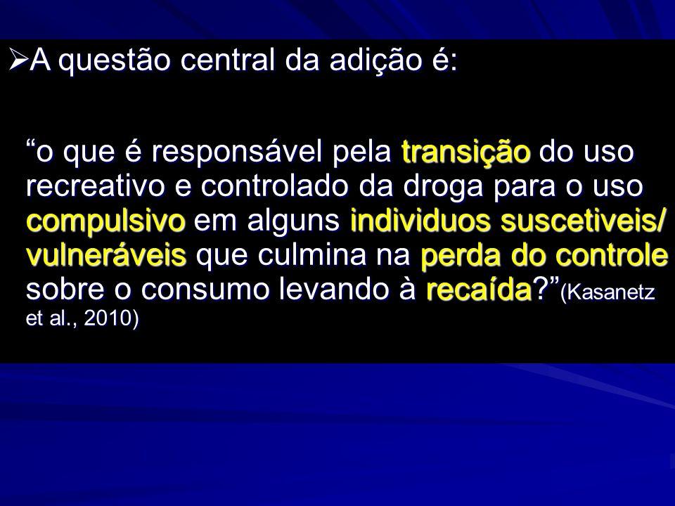 A questão central da adição é: A questão central da adição é: o que é responsável pela transição do uso recreativo e controlado da droga para o uso co