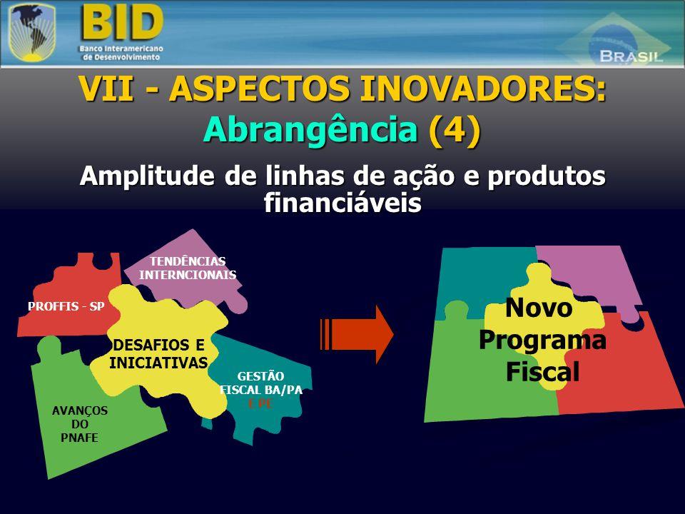 CCLIPPROFISCO Projeto 1 PE-1 Projeto 2 CE Projeto 3 ES Projeto 4 PE-2 Projeto 5 SE-MF Projeto 6 PI Projeto 7 PGFN VII - ASPECTOS INOVADORES: Flexibili
