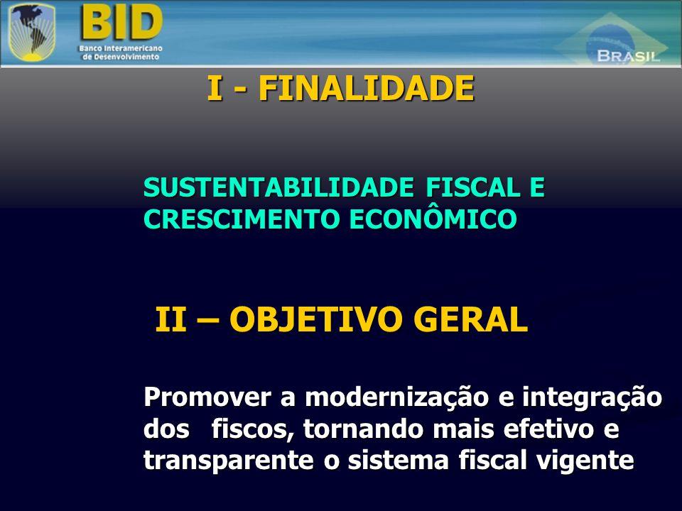 I - FINALIDADE SUSTENTABILIDADE FISCAL E CRESCIMENTO ECONÔMICO II – OBJETIVO GERAL Promover a modernização e integração dos fiscos, tornando mais efetivo e transparente o sistema fiscal vigente