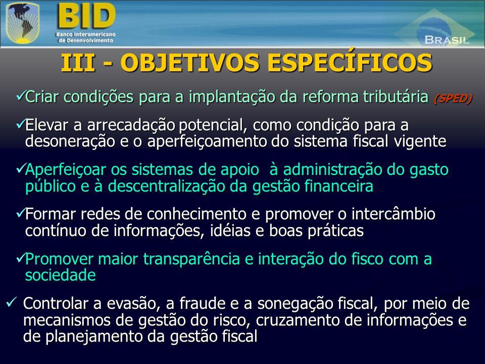 I - FINALIDADE SUSTENTABILIDADE FISCAL E CRESCIMENTO ECONÔMICO II – OBJETIVO GERAL Promover a modernização e integração dos fiscos, tornando mais efet