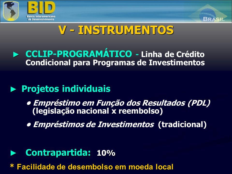 CCLIP-PROGRAMÁTICO - Linha de Crédito Condicional para Programas de Investimentos Projetos individuais Empréstimo em Função dos Resultados (PDL) (legislação nacional x reembolso) Empréstimos de Investimentos (tradicional) Contrapartida: 10% Contrapartida: 10% * Facilidade de desembolso em moeda local * Facilidade de desembolso em moeda local V - INSTRUMENTOS
