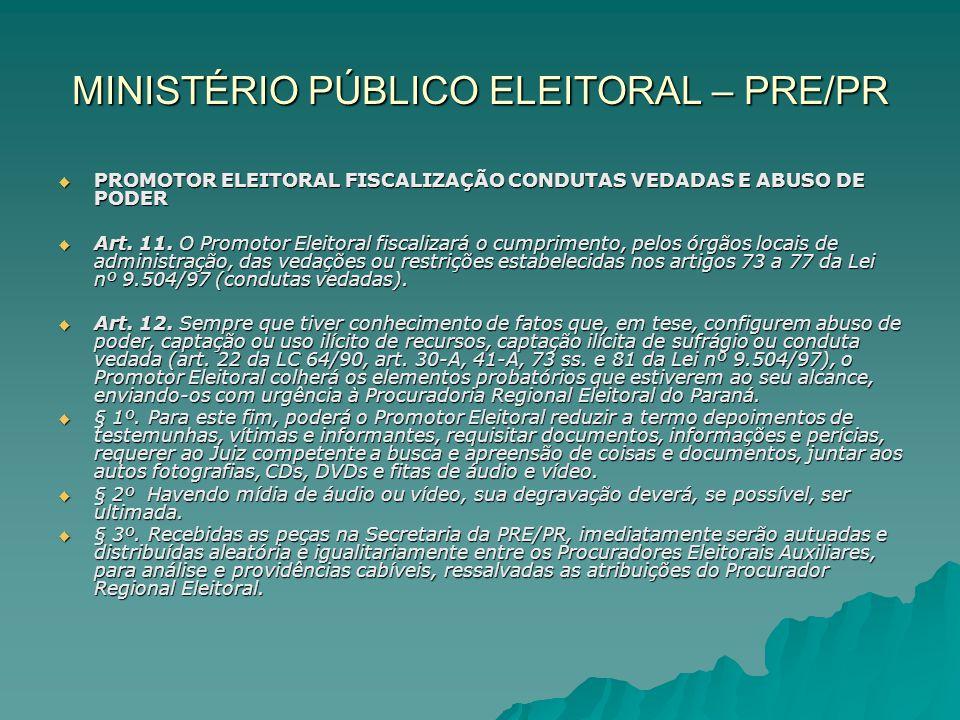 MINISTÉRIO PÚBLICO ELEITORAL – PRE/PR PROMOTOR ELEITORAL FISCALIZAÇÃO CONDUTAS VEDADAS E ABUSO DE PODER PROMOTOR ELEITORAL FISCALIZAÇÃO CONDUTAS VEDAD