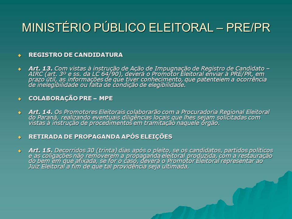 MINISTÉRIO PÚBLICO ELEITORAL – PRE/PR REGISTRO DE CANDIDATURA REGISTRO DE CANDIDATURA Art. 13. Com vistas à instrução de Ação de Impugnação de Registr