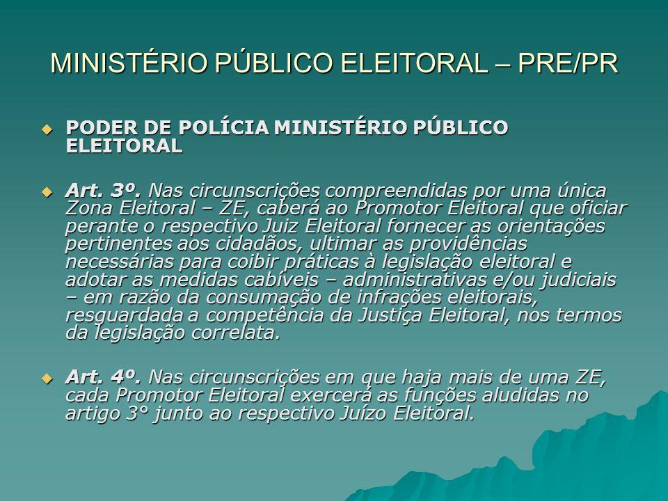 MINISTÉRIO PÚBLICO ELEITORAL – PRE/PR PODER DE POLÍCIA MINISTÉRIO PÚBLICO ELEITORAL PODER DE POLÍCIA MINISTÉRIO PÚBLICO ELEITORAL Art. 3º. Nas circuns