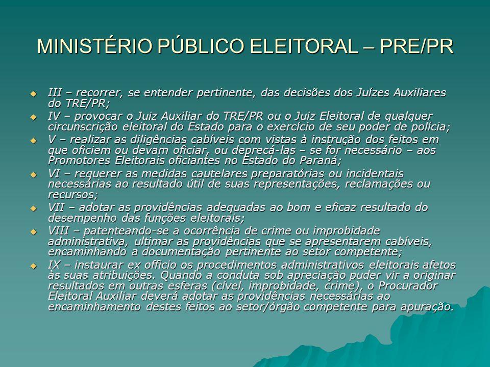 MINISTÉRIO PÚBLICO ELEITORAL – PRE/PR III – recorrer, se entender pertinente, das decisões dos Juízes Auxiliares do TRE/PR; III – recorrer, se entende