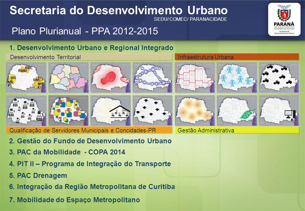 Secretaria do Desenvolvimento Urbano SEDU/ COMEC/ PARANACIDADE Plano Plurianual - PPA 2012-2015 Fonte: http://www.sepl.pr.gov.br/arquivos/File/Lei_17013_de_14_12_2011_PPA_2012_2015.pdf