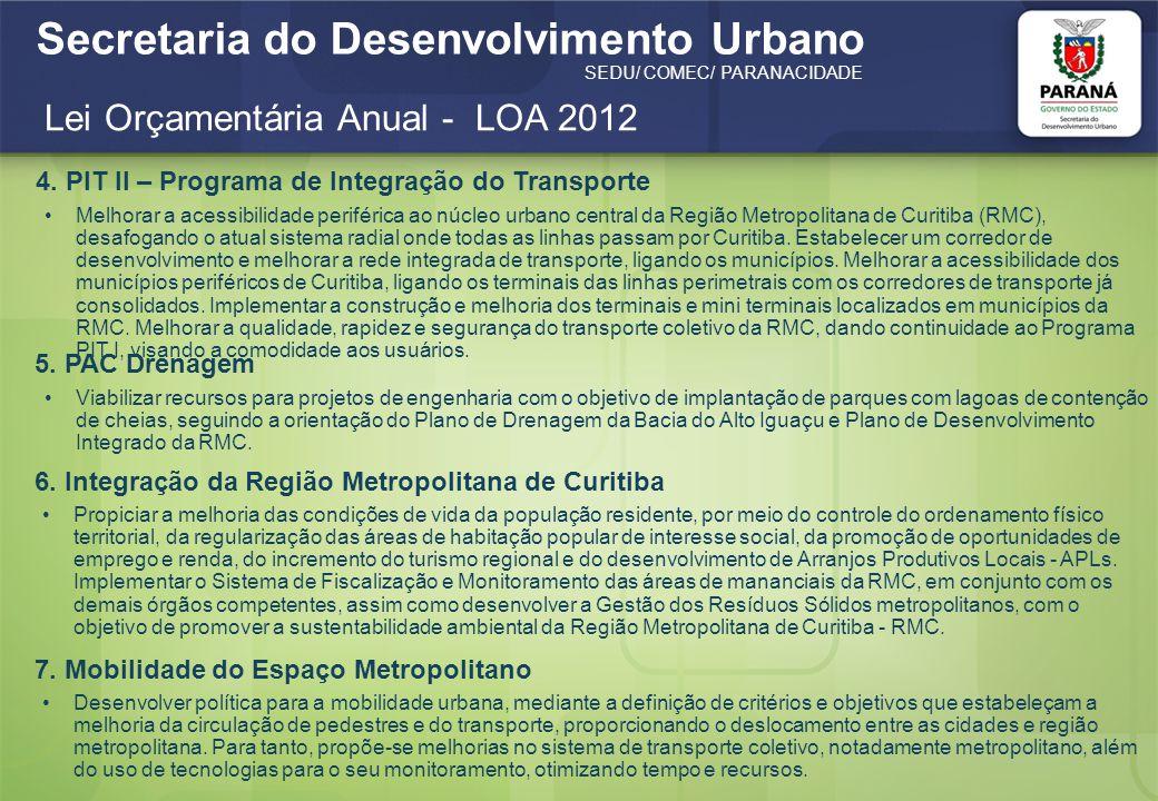 Secretaria do Desenvolvimento Urbano SEDU/ COMEC/ PARANACIDADE Lei Orçamentária Anual - LOA 2012 5. PAC Drenagem Viabilizar recursos para projetos de