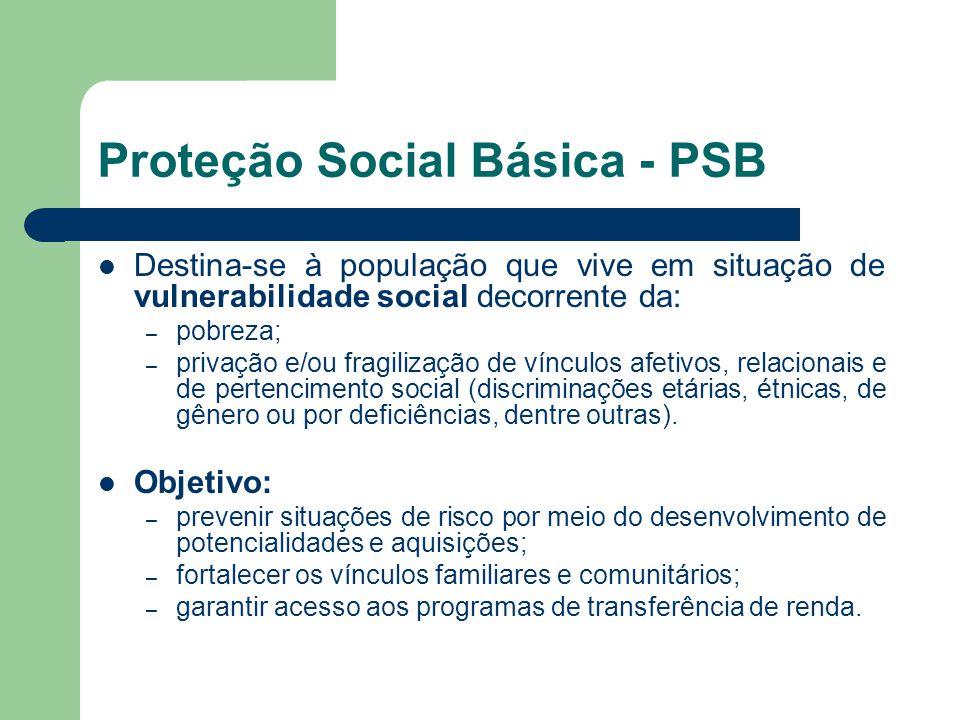 Proteção Social Básica - PSB Destina-se à população que vive em situação de vulnerabilidade social decorrente da: – pobreza; – privação e/ou fragilização de vínculos afetivos, relacionais e de pertencimento social (discriminações etárias, étnicas, de gênero ou por deficiências, dentre outras).