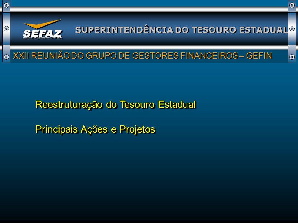 Reestruturação do Tesouro Estadual Principais Ações e Projetos SUPERINTENDÊNCIA DO TESOURO ESTADUAL XXII REUNIÃO DO GRUPO DE GESTORES FINANCEIROS – GE