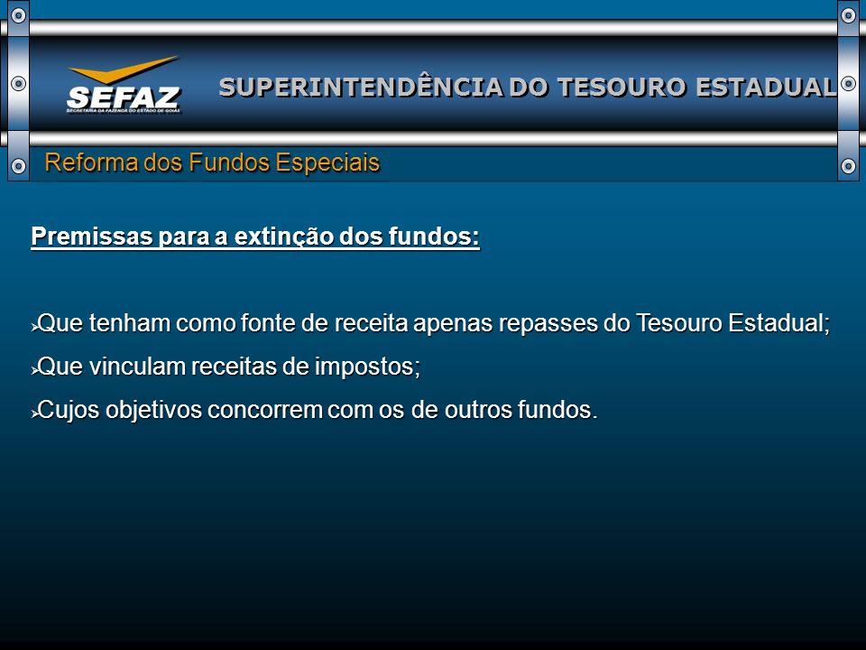 SUPERINTENDÊNCIA DO TESOURO ESTADUAL Reforma dos Fundos Especiais Reforma dos Fundos Especiais Premissas para a extinção dos fundos: Que tenham como f