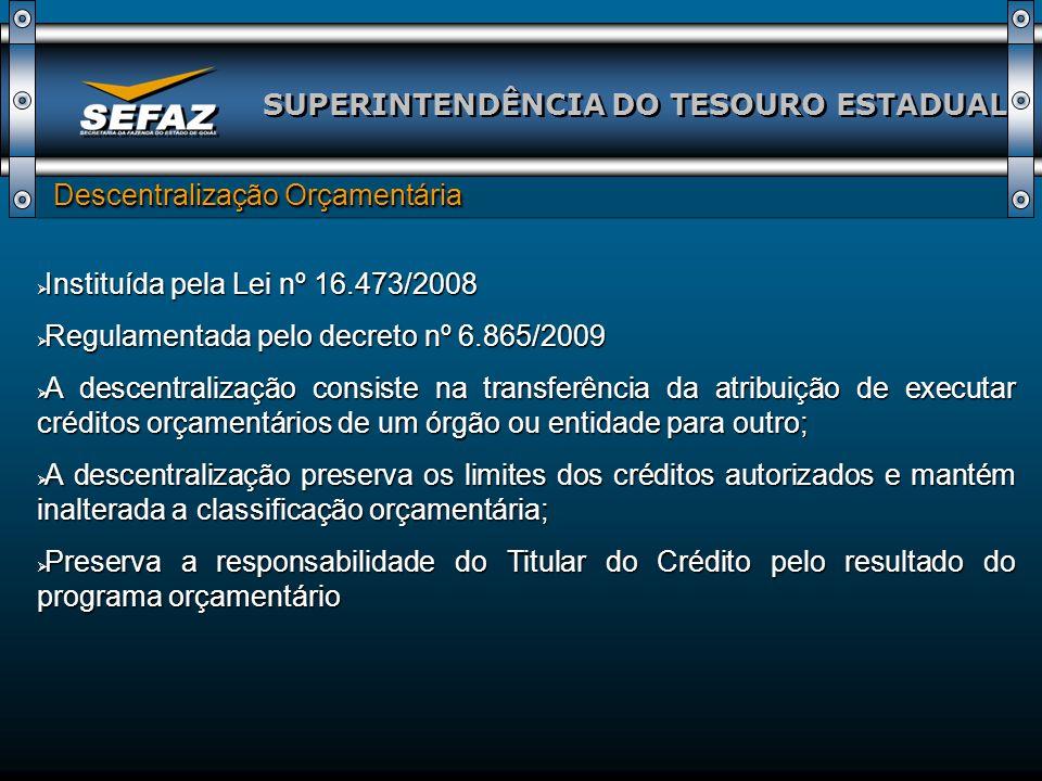 SUPERINTENDÊNCIA DO TESOURO ESTADUAL Descentralização Orçamentária Descentralização Orçamentária Instituída pela Lei nº 16.473/2008 Instituída pela Le
