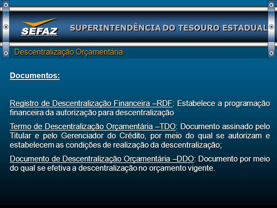 SUPERINTENDÊNCIA DO TESOURO ESTADUAL Descentralização Orçamentária Descentralização Orçamentária Documentos: Registro de Descentralização Financeira –