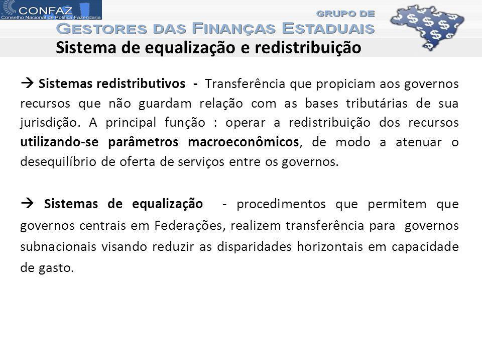 Sistema de equalização e redistribuição Sistemas redistributivos - Transferência que propiciam aos governos recursos que não guardam relação com as bases tributárias de sua jurisdição.