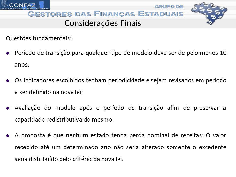 Considerações Finais Questões fundamentais: Período de transição para qualquer tipo de modelo deve ser de pelo menos 10 anos; Os indicadores escolhido
