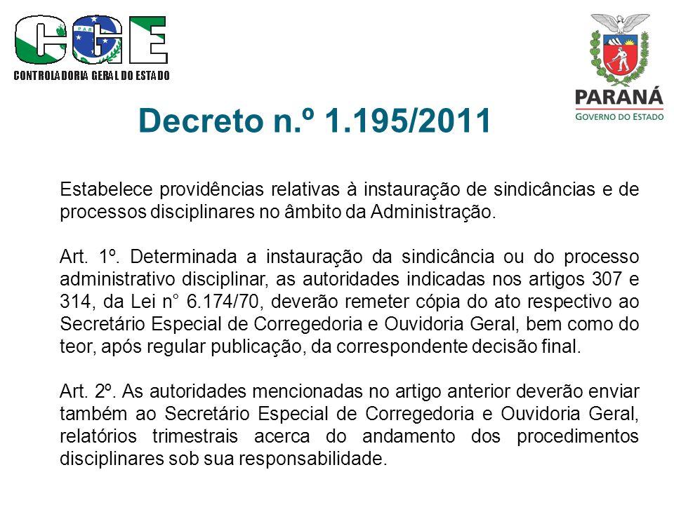 Decreto n.º 1.195/2011 Estabelece providências relativas à instauração de sindicâncias e de processos disciplinares no âmbito da Administração. Art. 1