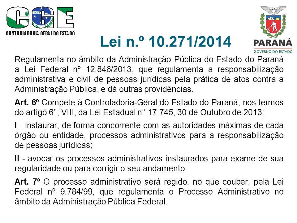 Lei n.º 10.271/2014 Regulamenta no âmbito da Administração Pública do Estado do Paraná a Lei Federal nº 12.846/2013, que regulamenta a responsabilização administrativa e civil de pessoas jurídicas pela prática de atos contra a Administração Pública, e dá outras providências.