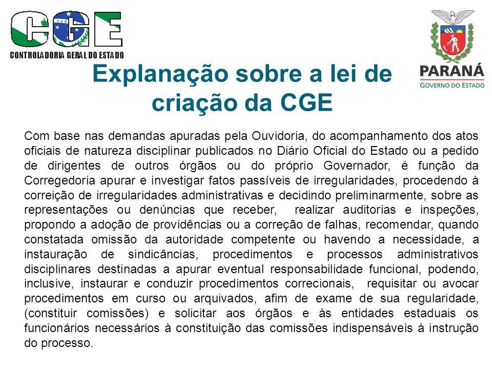 Explanação sobre a lei de criação da CGE Com base nas demandas apuradas pela Ouvidoria, do acompanhamento dos atos oficiais de natureza disciplinar pu