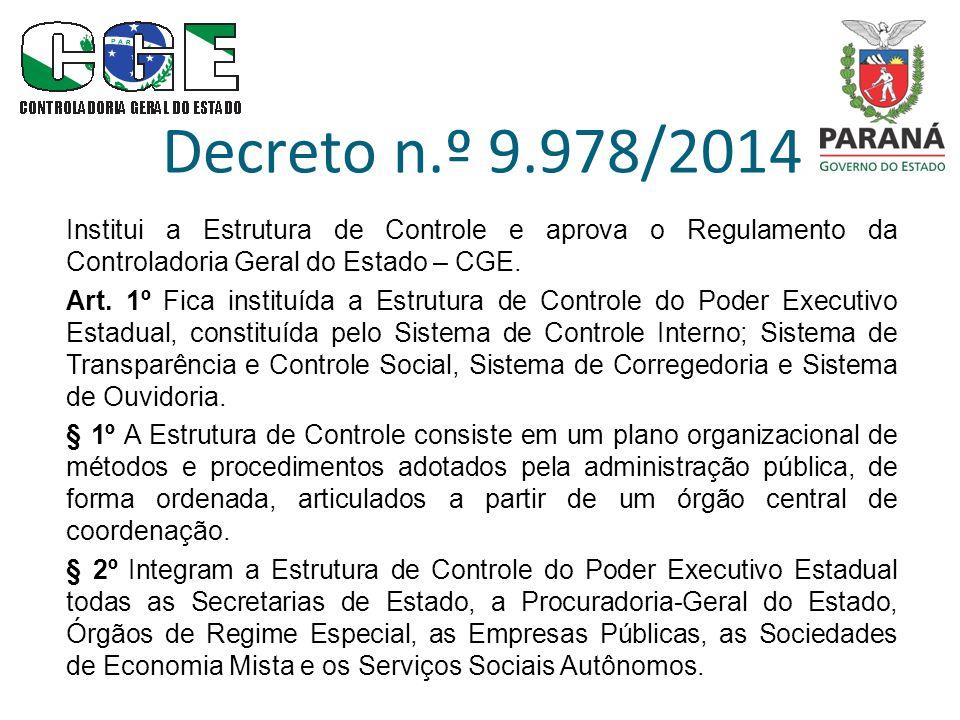 Decreto n.º 9.978/2014 Institui a Estrutura de Controle e aprova o Regulamento da Controladoria Geral do Estado – CGE. Art. 1º Fica instituída a Estru