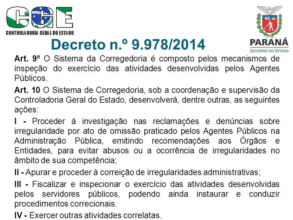 Decreto n.º 9.978/2014 Art. 9º O Sistema da Corregedoria é composto pelos mecanismos de inspeção do exercício das atividades desenvolvidas pelos Agent