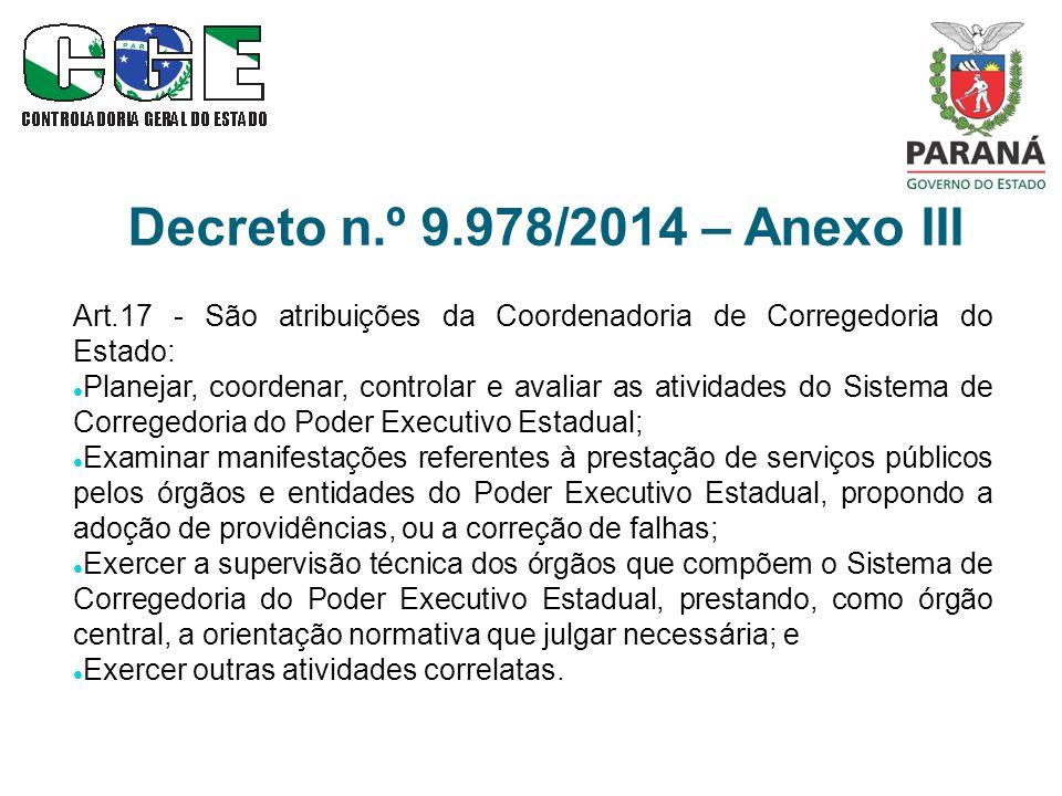 Decreto n.º 9.978/2014 – Anexo III Art.17 - São atribuições da Coordenadoria de Corregedoria do Estado: Planejar, coordenar, controlar e avaliar as at