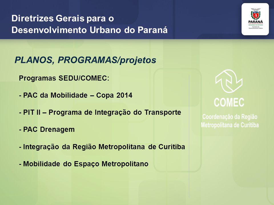 Diretrizes Gerais para o Desenvolvimento Urbano do Paraná PLANOS, PROGRAMAS/projetos Programas SEDU/COMEC: - PAC da Mobilidade – Copa 2014 - PIT II – Programa de Integração do Transporte - PAC Drenagem - Integração da Região Metropolitana de Curitiba - Mobilidade do Espaço Metropolitano