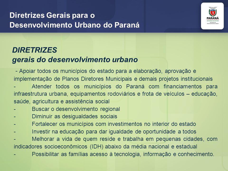 Diretrizes Gerais para o Desenvolvimento Urbano do Paraná PARCERIAS SEDU/PARANACIDADE/AFPR-SFM Financiamento aos municípios de projetos institucionais, infraestrutura e veículos rodoviários em conformidade com os Planos de Ação e Investimentos dos Planos Diretores Municipais SEDU/PARANACIDADE/SETI/SEAP-Escola de Governo/IFPR Capacitação, EAD, de servidores municipais e estaduais, graduação, terceiro curso (Curso de Tecnologia em Gestão Pública – 7.000 vagas) – inscrições até 15/04 e pós-graduação, três primeiros cursos (Gestão de Pessoas, Políticas Públicas e Logística – 7.500 vagas) – inscrições até 26/03
