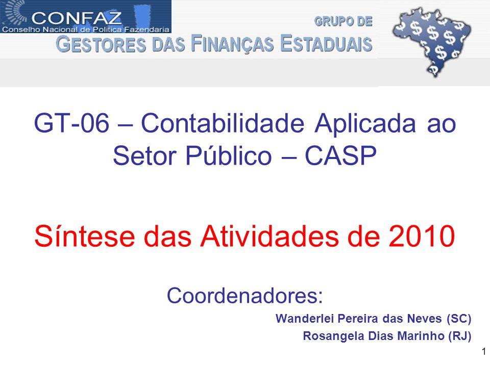GT-06 – Contabilidade Aplicada ao Setor Público – CASP Síntese das Atividades de 2010 Coordenadores: Wanderlei Pereira das Neves (SC) Rosangela Dias Marinho (RJ) 1