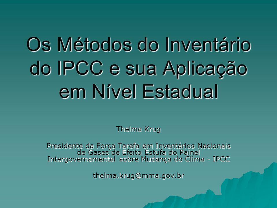 Os Métodos do Inventário do IPCC e sua Aplicação em Nível Estadual Thelma Krug Presidente da Força Tarefa em Inventários Nacionais de Gases de Efeito