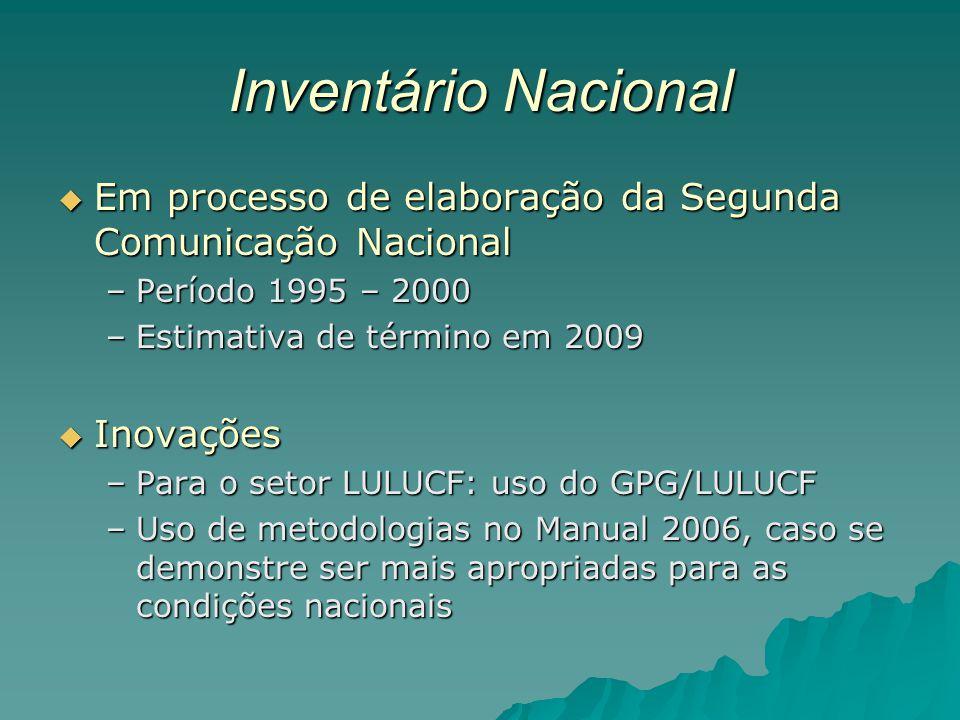 Inventário Nacional Em processo de elaboração da Segunda Comunicação Nacional Em processo de elaboração da Segunda Comunicação Nacional –Período 1995