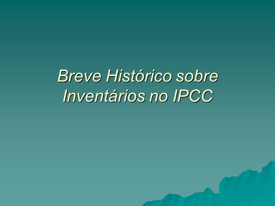 Programa do IPCC Programa de Inventários Nacionais do IPCC Programa de Inventários Nacionais do IPCC –início em 1991 –Força Tarefa em Inventários Nacionais de Gases de Efeito Estufa criada em 1999 Objetivos e atividades do Programa Objetivos e atividades do Programa –Desenvolver e refinar uma metodologia internacionalmente acordada para estimar e reportar as emissões nacionais líquidas (emissões – remoções) de gases de efeito estufa –Encorajar o uso desta metodologia pelos países membros do IPCC e da Convenção- Quadro das Nações Unidas sobre Mudança do Clima (UNFCCC).