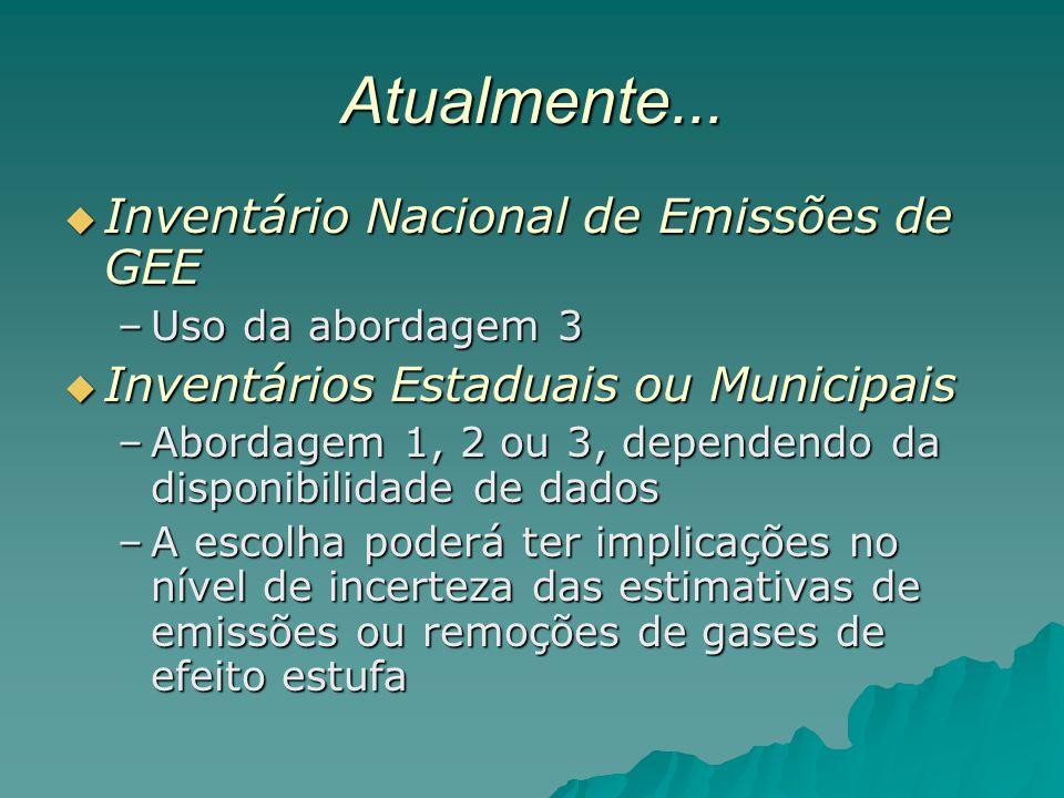 Atualmente... Inventário Nacional de Emissões de GEE Inventário Nacional de Emissões de GEE –Uso da abordagem 3 Inventários Estaduais ou Municipais In