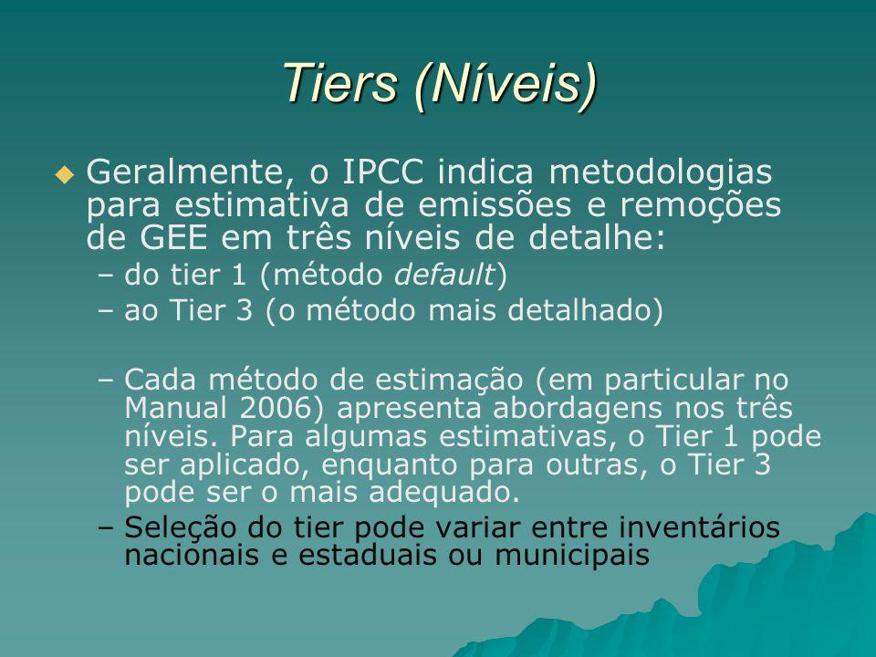 Tiers (Níveis) Geralmente, o IPCC indica metodologias para estimativa de emissões e remoções de GEE em três níveis de detalhe: – –do tier 1 (método de