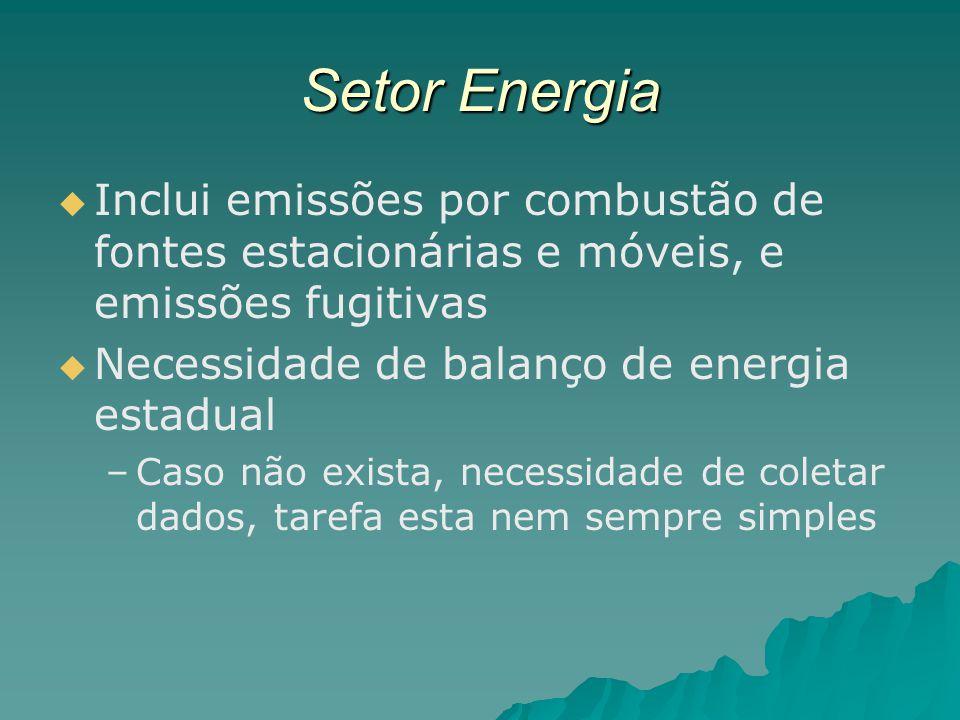 Setor Energia Inclui emissões por combustão de fontes estacionárias e móveis, e emissões fugitivas Necessidade de balanço de energia estadual – –Caso