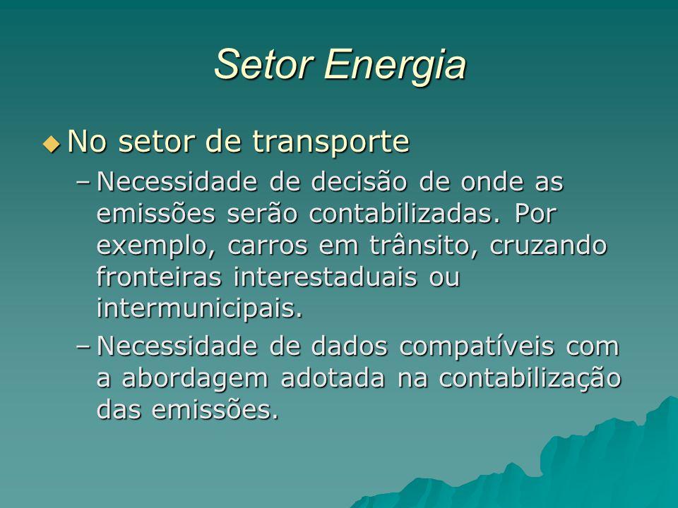 Setor Energia No setor de transporte No setor de transporte –Necessidade de decisão de onde as emissões serão contabilizadas. Por exemplo, carros em t