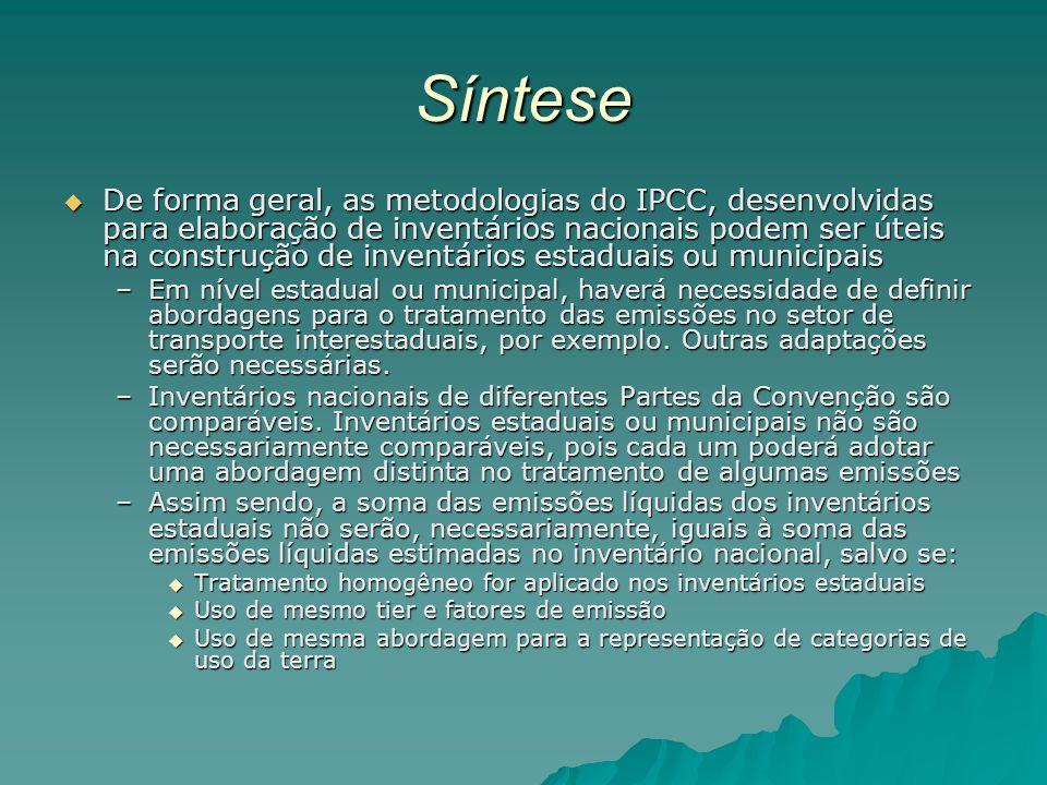 Síntese De forma geral, as metodologias do IPCC, desenvolvidas para elaboração de inventários nacionais podem ser úteis na construção de inventários e