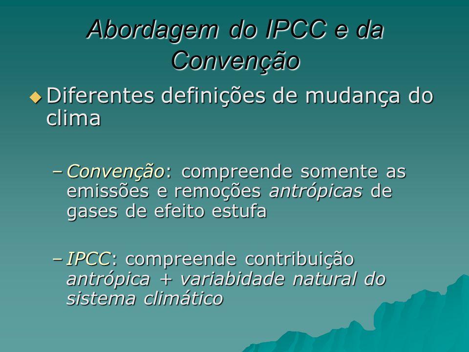 Abordagem do IPCC e da Convenção Diferentes definições de mudança do clima Diferentes definições de mudança do clima –Convenção: compreende somente as