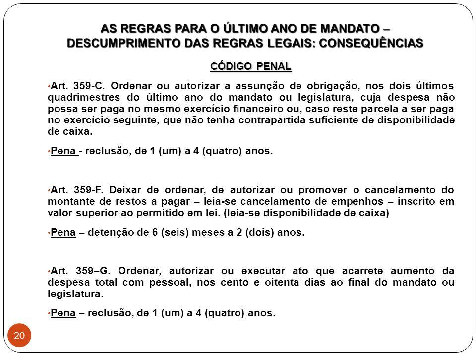 CÓDIGO PENAL Art. 359-C. Ordenar ou autorizar a assunção de obrigação, nos dois últimos quadrimestres do último ano do mandato ou legislatura, cuja de