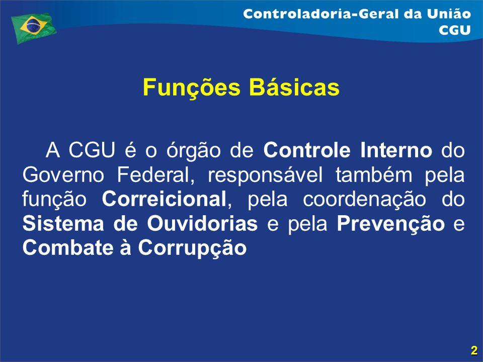 Funções Básicas A CGU é o órgão de Controle Interno do Governo Federal, responsável também pela função Correicional, pela coordenação do Sistema de Ou