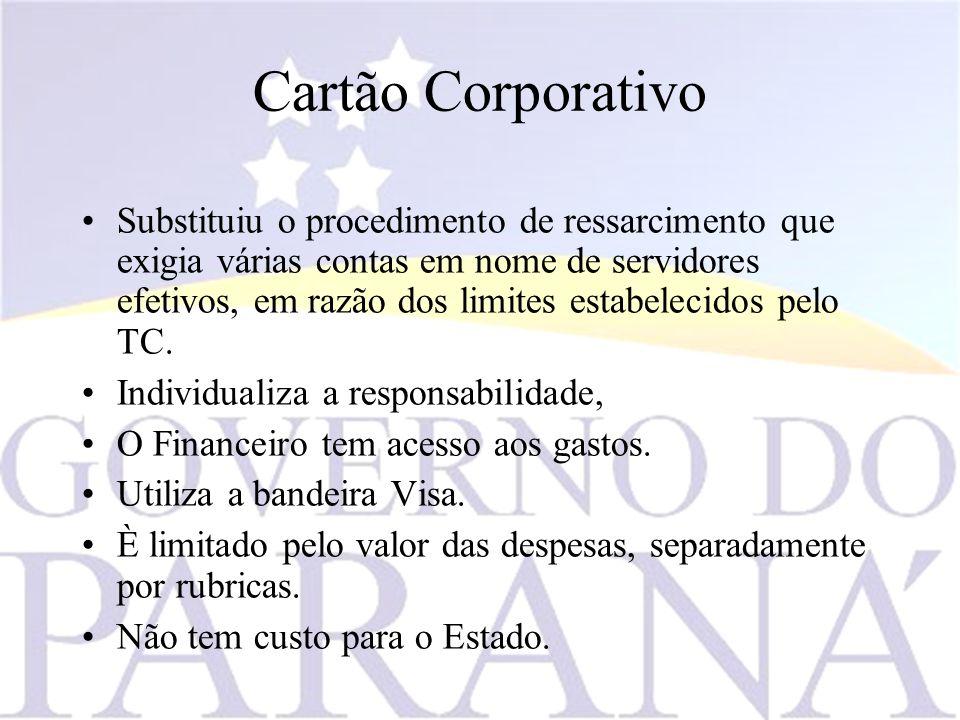 Cartão Corporativo Substituiu o procedimento de ressarcimento que exigia várias contas em nome de servidores efetivos, em razão dos limites estabelecidos pelo TC.