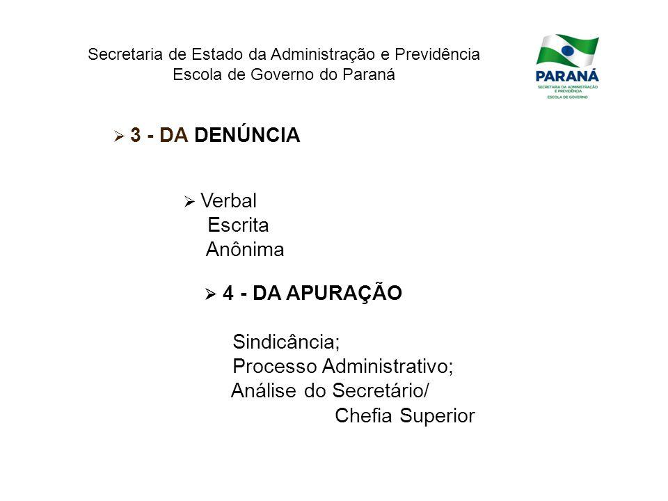 Secretaria de Estado da Administração e Previdência Escola de Governo do Paraná Verbal Escrita Anônima 3 - DA DENÚNCIA 4 - DA APURAÇÃO Sindicância; Pr
