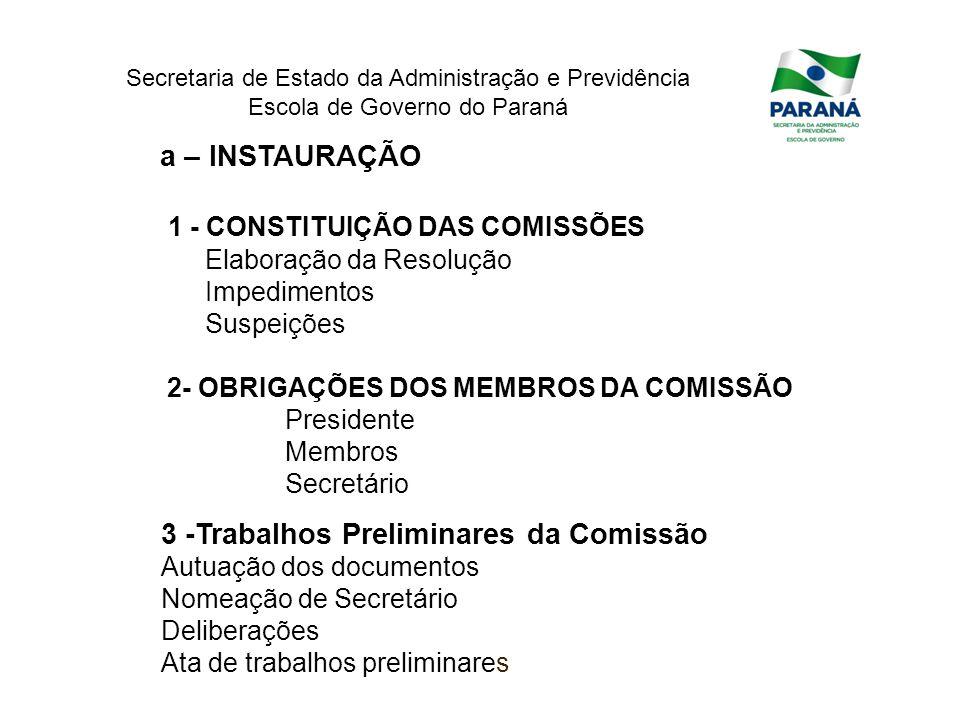 Secretaria de Estado da Administração e Previdência Escola de Governo do Paraná a – INSTAURAÇÃO 1 - CONSTITUIÇÃO DAS COMISSÕES Elaboração da Resolução
