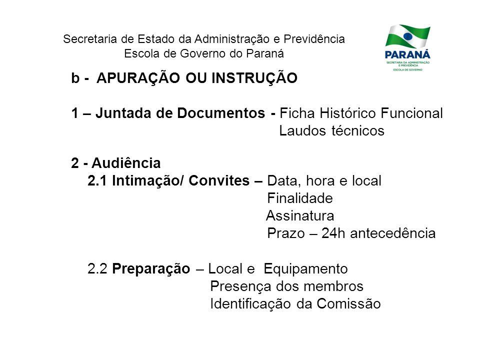 Secretaria de Estado da Administração e Previdência Escola de Governo do Paraná b - APURAÇÃO OU INSTRUÇÃO 1 – Juntada de Documentos - Ficha Histórico