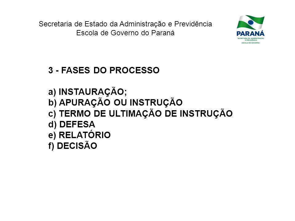 Secretaria de Estado da Administração e Previdência Escola de Governo do Paraná 3 - FASES DO PROCESSO a) INSTAURAÇÃO; b) APURAÇÃO OU INSTRUÇÃO c) TERM
