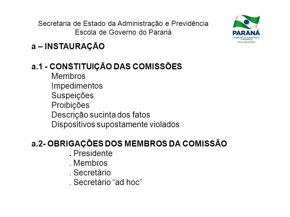Secretaria de Estado da Administração e Previdência Escola de Governo do Paraná a – INSTAURAÇÃO a.1 - CONSTITUIÇÃO DAS COMISSÕES Membros Impedimentos