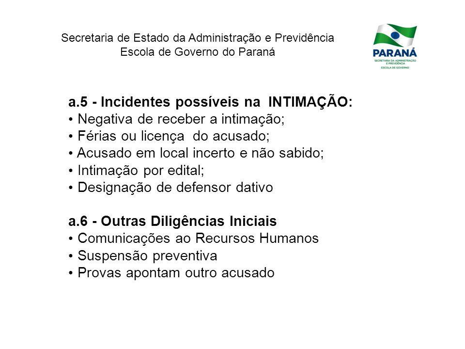 Secretaria de Estado da Administração e Previdência Escola de Governo do Paraná a.5 - Incidentes possíveis na INTIMAÇÃO: Negativa de receber a intimaç