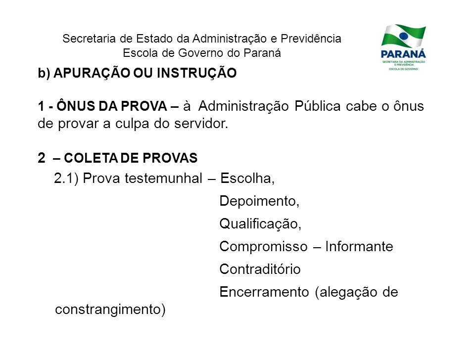 Secretaria de Estado da Administração e Previdência Escola de Governo do Paraná b) APURAÇÃO OU INSTRUÇÃO 1 - ÔNUS DA PROVA – à Administração Pública c